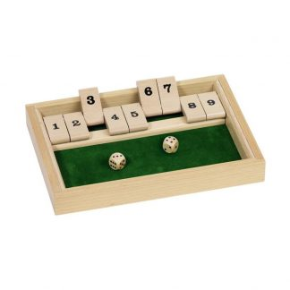 Würfelspiel mit Zahlen und Klappen aus Holz