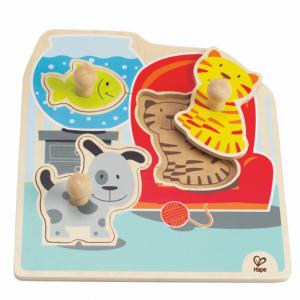 Knopfpuzzle Haustiere Katze Hund Fisch Holzpuzzle