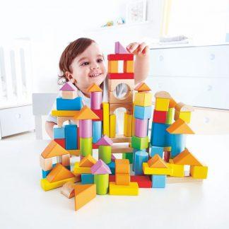 100 bunte Holzbausteine in praktischer Box