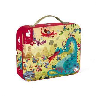 Koffer mit Puzzle Drachenmotiv