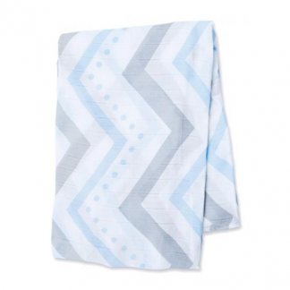 Swaddle Mulltuch Bamboo blue chevron