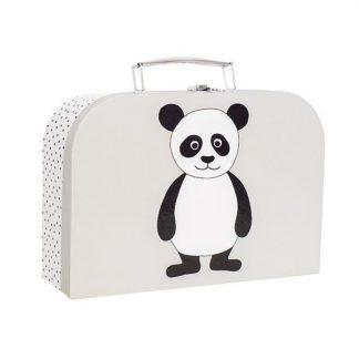 niedlicher, gauer Koffer mit Pandaapplikation