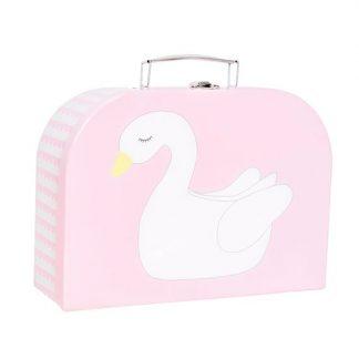 niedlicher, rosa Koffer mit Schwanenapplikation