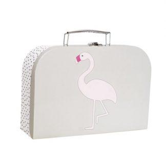 niedlicher, grauer Koffer mit Flamingoapplikation