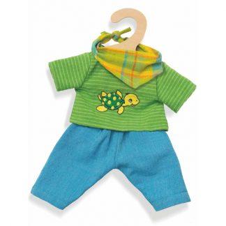 Puppenbekleidung blaue Hose mit grünem Oberteil mit Schildkrötenapplikation und Dreieckstuch