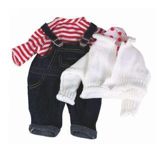 Latzhose, rot-weiß gestreiftes Shirt, weiße Strickjacke für Babypuppe