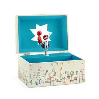 türkise Box mit drehenden Superhelden und Melodie
