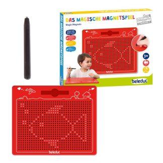 rote Tafel mit Metallkugeln und Magnetstift zum Zeichnen