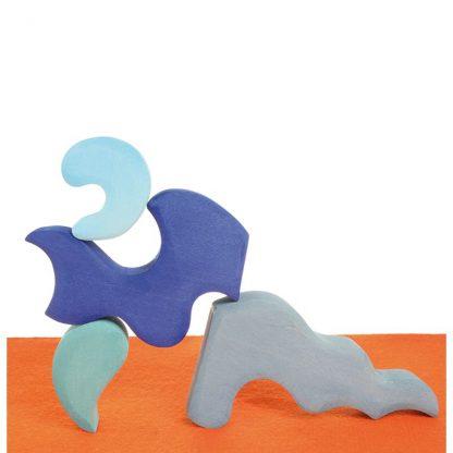 4 fantasievolle Holzbauelemente Blautöne