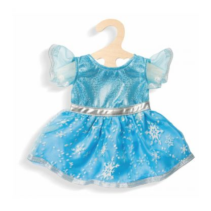 blaues Puppenkleid mit glitzernden Eiskristallen