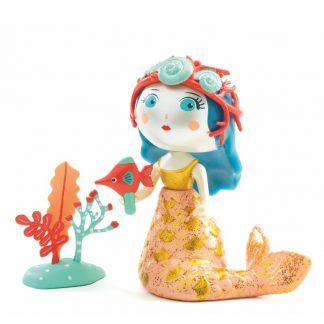 Spielfigur Meerjungfrau mit Muschelkrone, Fisch und Korallen