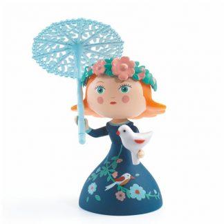 Spielfigur Prinzessin mit abnehmbaren Vögelchen und Sonnenschirm