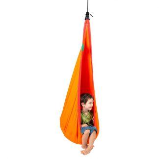 orange Hängehöhle mit Netzstoff für Kinder von 3 bis 9 Jahren