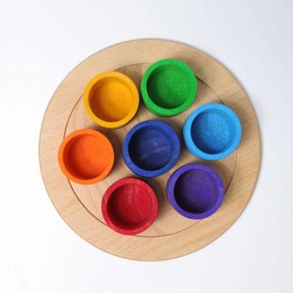 7 Holzschälchen in Regenbogenfarben