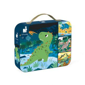 Koffer mit Puzzle Dinomotiv