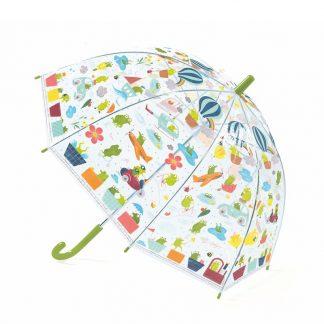 Transparenter Kinderregenschirm rosa mit Frosch-Motiven