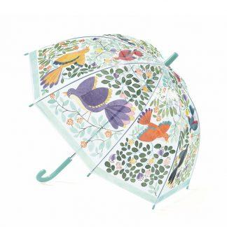 Transparenter Kinderregenschirm rosa mit Vögel und Blumen