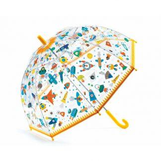 Transparenter Kinderregenschirm rosa mit Weltallmotiven
