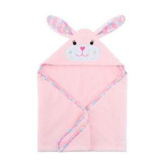 rosa Kapuzenbadetuch mit Häschenmotiv