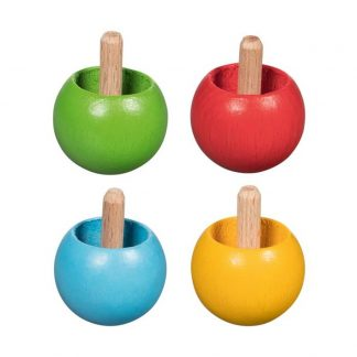 Holzkreisel in verschiedenen Farben