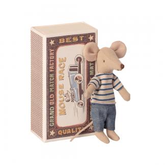 Maileg Maus großer Bruder mit gestreiften Pulli und Hose in Box