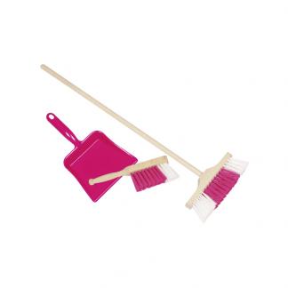 Kinderbesen, Handfeger und Kehrschaufel pink