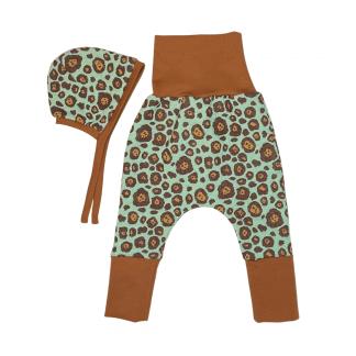 Baby-Set Hose und Babyhäubchen Farbe mint/caramel