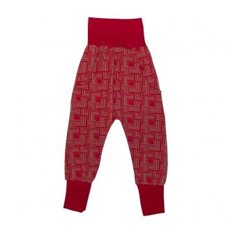 Hapilu Hose mit Seitentaschen rot/braun Rechtecke 90-110