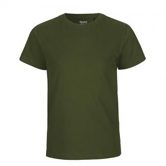 olivfarbenes Kinder T-Shirt aus Biobaumwolle